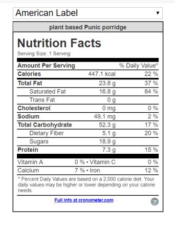 Plant based Punic Porridge